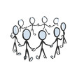 People circle, community human chain holding hands. Vector simple team unity, social activist group. Teamwork society. Stickman no face clipart cartoon. Hand drawn. Doodle sketch, graphic illustration