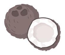Coconut Poster In Cartoon Styl...