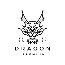 Dragon Monoline Logo Vector Icon Illustration