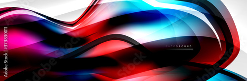 Vector abstract background, flowing liquid style bubble with metallic, color qui Fototapeta