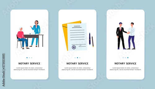 Fototapeta Notary services application on screens set flat vector illustration isolated