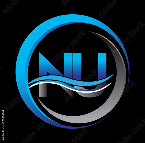 Photo initial letter logo NU company name blue and grey color on circle and swoosh design