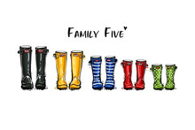 Happy Home Family Five Concept. Different Colors Wellies Collection. Rubber Boots Autumn Fall Concept. Vector Illustration In Watercolor Style. Decoration Family Card On White Background.