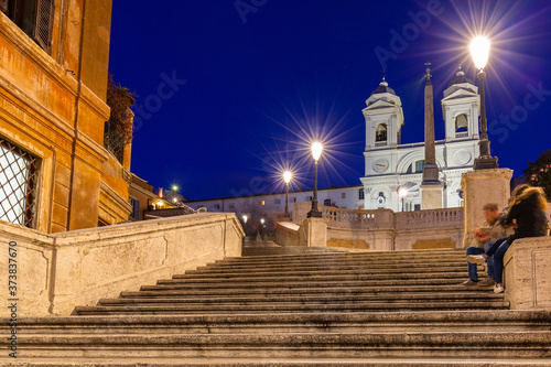 Fotografering The Spanish steps in Rome at night, Italy