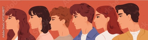 Fotografie, Obraz Group of young man and woman looking one direction vector flat illustration