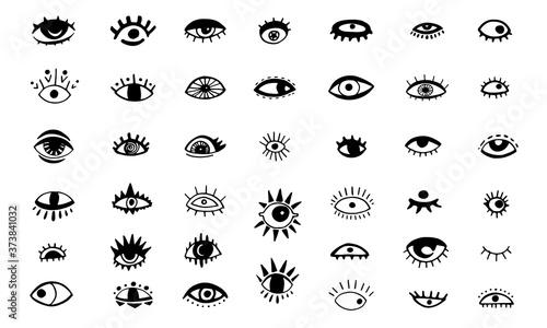 Papel de parede Hand drawn sketch illustration of evil eyes