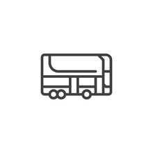 Double Decker Bus Line Icon. Linear Style Sign For Mobile Concept And Web Design. City Transport Bus Outline Vector Icon. Symbol, Logo Illustration. Vector Graphics