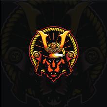 Tiger Head Samurai Mascot Vect...