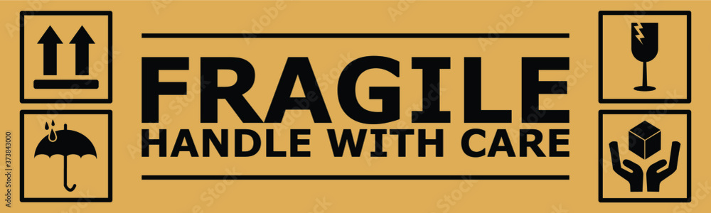 Fototapeta Fragile or Package Label stickers set. (Fragile, Handle with Care, This Way Up, Keep Dry). black in color with brown background. Square format. EPS 10 vectors.