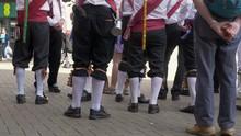 Morris Men Dancers On High Street England Uk
