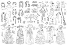 Big Set Of Dress Up Paper Doll With Halloween Witch Costumes, Pot, Broom And Scary Objects.