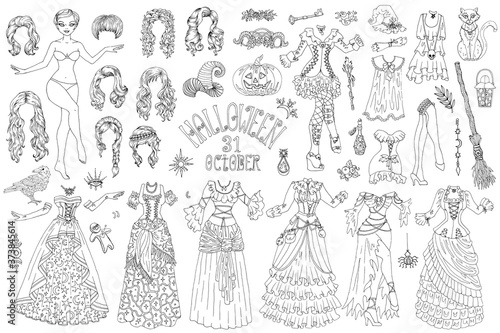 Fotografiet Big set of dress up paper doll with Halloween witch costumes, pot, broom and scary objects