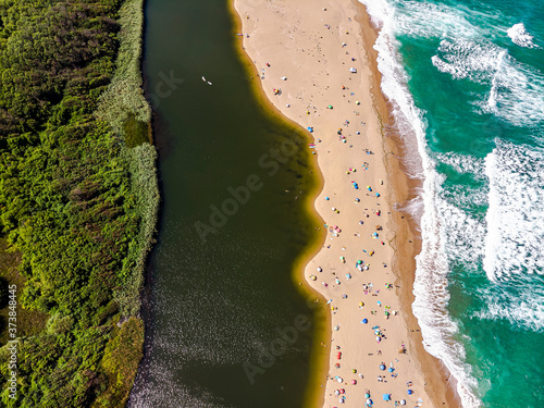 Obraz Aerial drone view of Veleka river, green forest, black sea shore, perfect place for holiday and vacantion in Bulgaria. - fototapety do salonu