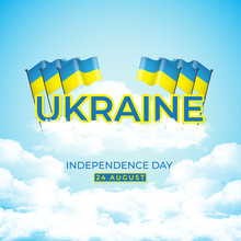 Happy Ukraine Independence Day. The Background Of The Flag Banner Fluttered Above The Sky And Clouds. Greetings Patriotic Nation Vector