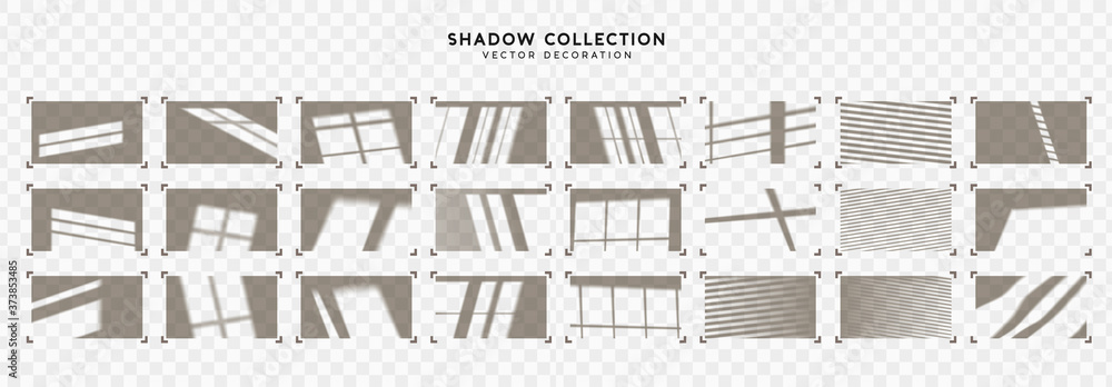 Fototapeta Set of Shadow overlay window frames. Effect light transparent shadow. Realistic creating reflective effect illusions. Overlay for adding scene lighting to your images. Vector illustration.