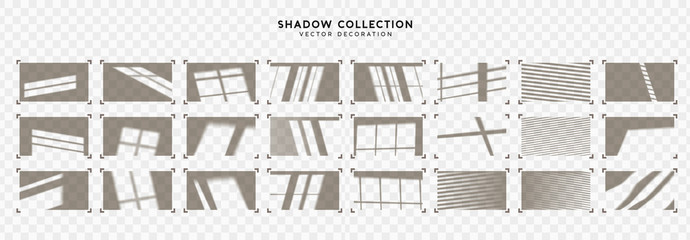Set of Shadow overlay window frames. Effect light transparent shadow. Realistic creating reflective effect illusions. Overlay for adding scene lighting to your images. Vector illustration.