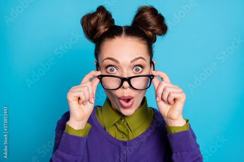 Valokuvatapetti Closeup photo of attractive shocked lady two funny buns crazy good mood amazed p