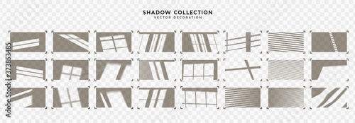 Obraz Set of Shadow overlay window frames. Effect light transparent shadow. Realistic creating reflective effect illusions. Overlay for adding scene lighting to your images. Vector illustration. - fototapety do salonu