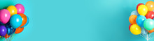 Bunches Of Bright Balloons On Light Blue Background, Space For Text. Banner Design