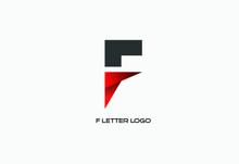 Red Colored F Letter Logo Design