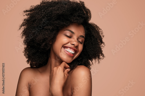 Fotografie, Obraz Optimistic black lady with perfect skin