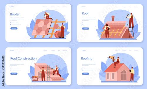 Roof construction worker web banner or landing page set. Building Billede på lærred