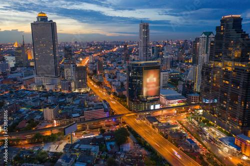 Fotografie, Obraz Aerial view of Bangkok Downtown Skyline with road street highways