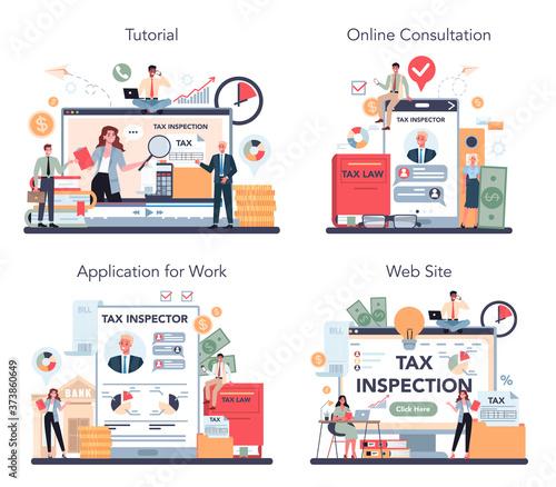 Papel de parede Tax inspector online service or platform set