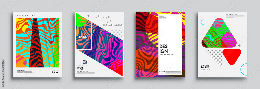 Fototapeta Modern abstract covers set. Cool gradient shapes composition, vector covers design.