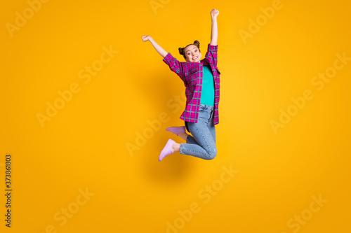 Tela Full body profile photo of crazy teen lady jump high up air flight champion spor