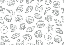 Seashell Seamless Pattern. Vector Background Included Line Icons As Ocean Sea Shells, Scallop, Starfish, Clam, Oyster, Nautical Texture For Fabric. Black And White Color