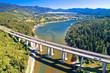 Leinwanddruck Bild - Viaduct Bajer above idyllic lake and town of Fuzine aerial view