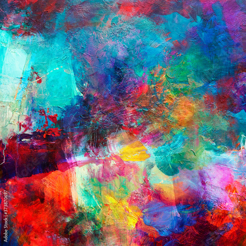 Fotografie, Obraz farben abstrakt ölfarben malerei quadratisch
