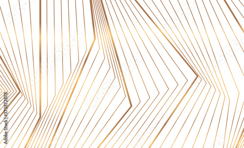 Abstract golden 3d lines refraction geometric minimal background. Vector art deco luxury design