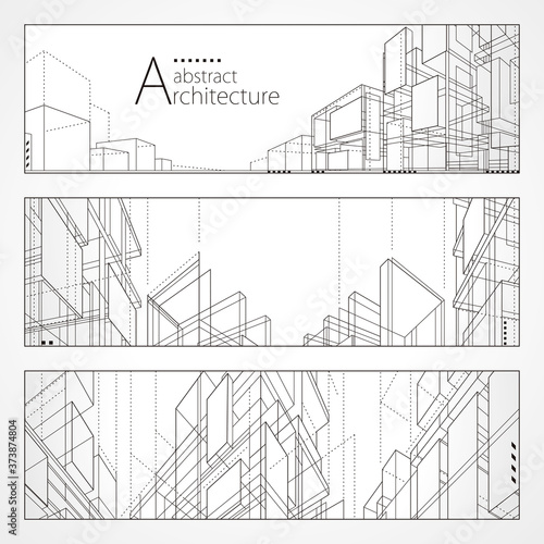 Obraz Architecture abstract modern building, Architecture building construction perspective line drawing design banner set. - fototapety do salonu