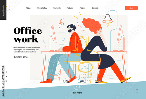 Obraz Business topics - office work, web template. Flat style modern outlined vector concept illustration. Man and woman sitting and working at the office desks with desktop computers. Business metaphor. - fototapety do salonu