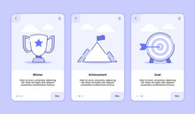 Winner Achievement Goal Onboarding Screen For Mobile Apps Template Banner Page UI With Three Variations Modern Flat Outline Style.