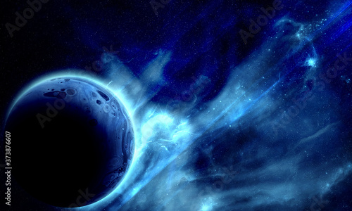 Obraz na plátně blue planet in space among the glow of stars and nebulae, abstract space 3d illu