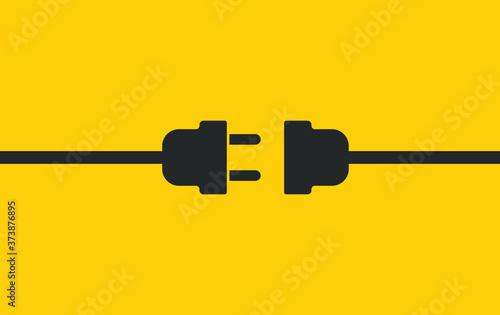 Cuadros en Lienzo Electric wire Plug and Socket unplugged icon symbol
