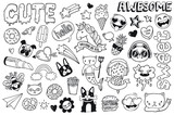 Fototapeta Młodzieżowe - A set of teen culture graffiti doodles suitable for decoration, badges, stickers or embroidery. Vector illustrations.