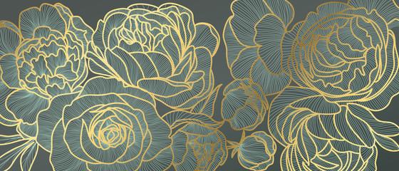 Fototapeta Art Deco Golden rose flower art deco wallpaper background vector. Floral Line arts background design for Luxury elegant pattern interior design, vector arts, fashion textile patterns, textures and poster.