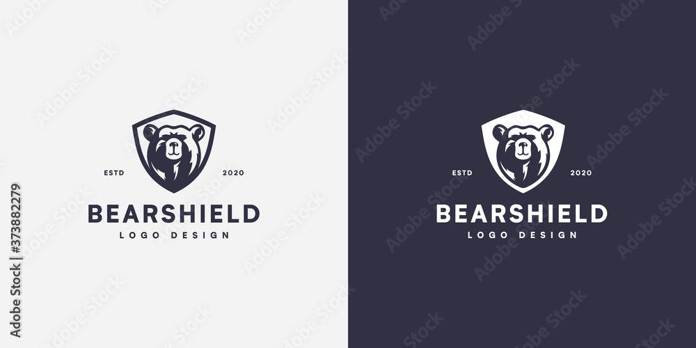 Fototapeta bear shield head logo vector