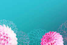 Card With Dahlia Blossoms And Drawing Lines On A Blue Gradient Background Plus Copy Space