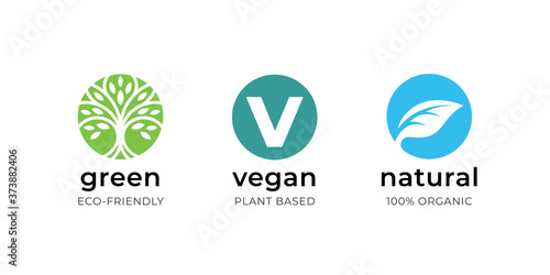 Vegan food label icon set Fototapet