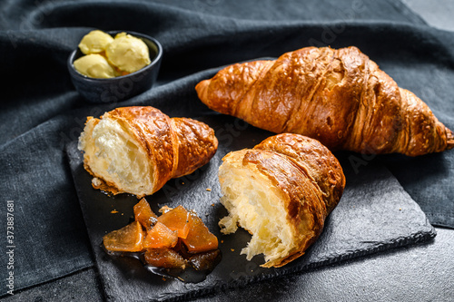 Fotografie, Obraz Homemade croissants with pear marmalade