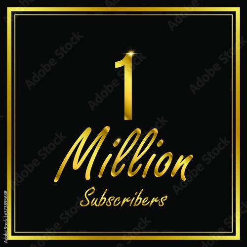 Billede på lærred One or 1 Million followers or subscribers achievement symbol design, vector illustration