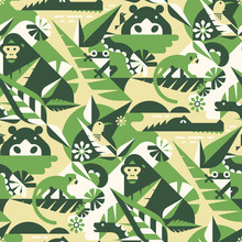 African Jungle Seamless Pattern With Gorilla, Birds, Hippo, Monkey. Crocodile, Frog, Snake, Leaves And Flowers. Perfect For Camouflage Fabric, Textile, Wallpaper. Animal Design Pattern.