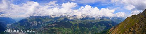 Valokuvatapetti Folluhorn, Schweiz: Panorama des Jungfrau-Aletsch-Bietschhorn-Gebirge