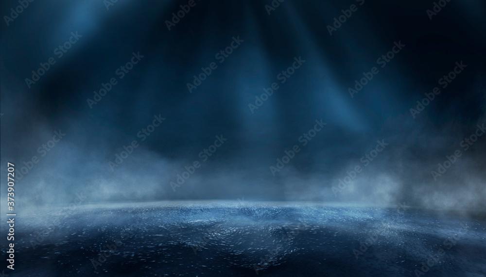 Fototapeta Dark street, wet asphalt, reflections of rays in the water. Abstract dark blue background, smoke, smog. Empty dark scene, neon light, spotlights. Concrete floor 3d illustration