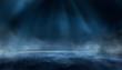 Leinwanddruck Bild - Dark street, wet asphalt, reflections of rays in the water. Abstract dark blue background, smoke, smog. Empty dark scene, neon light, spotlights. Concrete floor 3d illustration